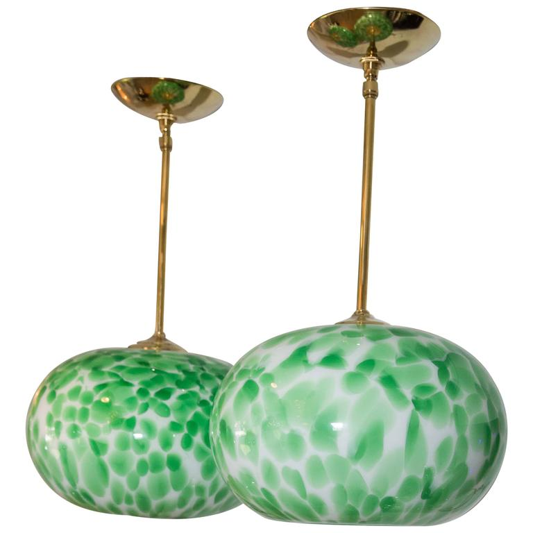 murano green and white opaque globe pendant light fixture with brass detail for sale at 1stdibs. Black Bedroom Furniture Sets. Home Design Ideas