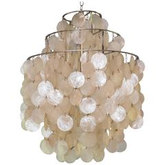 Capiz shell chandeliers 20 for sale on 1stdibs panton disk capiz shell chandelier aloadofball Images