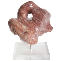 Abstract Striated Marble Sculpture on Lucite Base