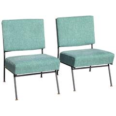 Pair of Iron Base Tweed Upholstered Modernist Chairs with Brass Detail