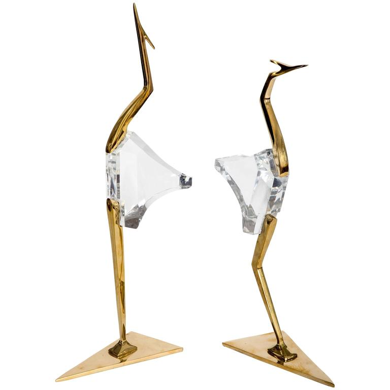 Pair of Stylized Lucite and Brass Crane Sculptures