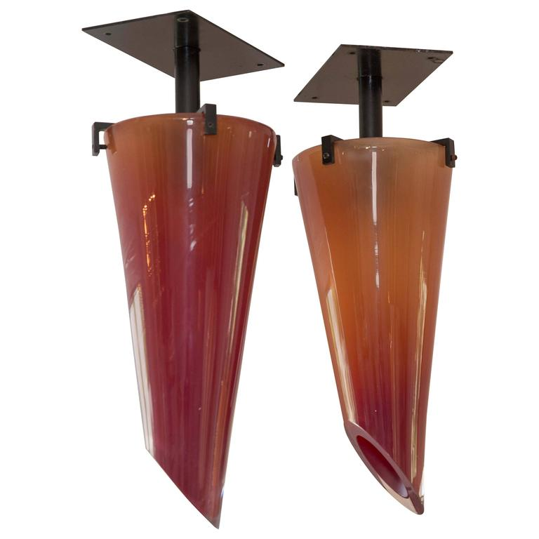 Pair of Amber Glass Chandeliers, by Seguso