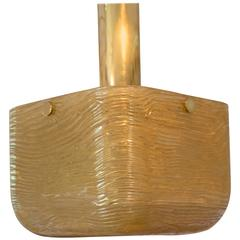 Gold Resin Square Form Ceiling Fixture with Brass Hardware