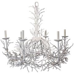 Faux Coral Metal Chandelier with Six Candelabras