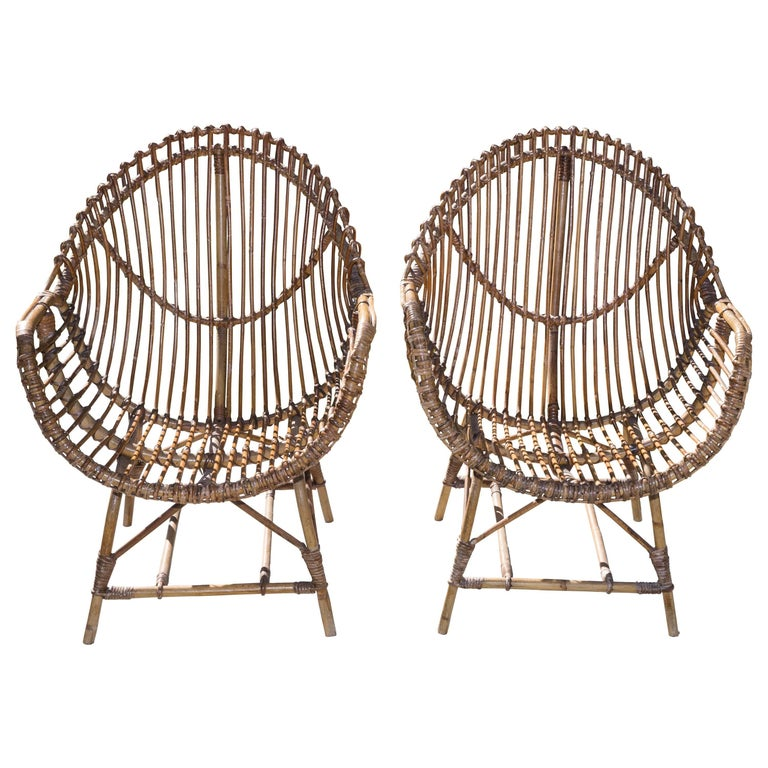 Pair of Rattan Armchairs For Sale