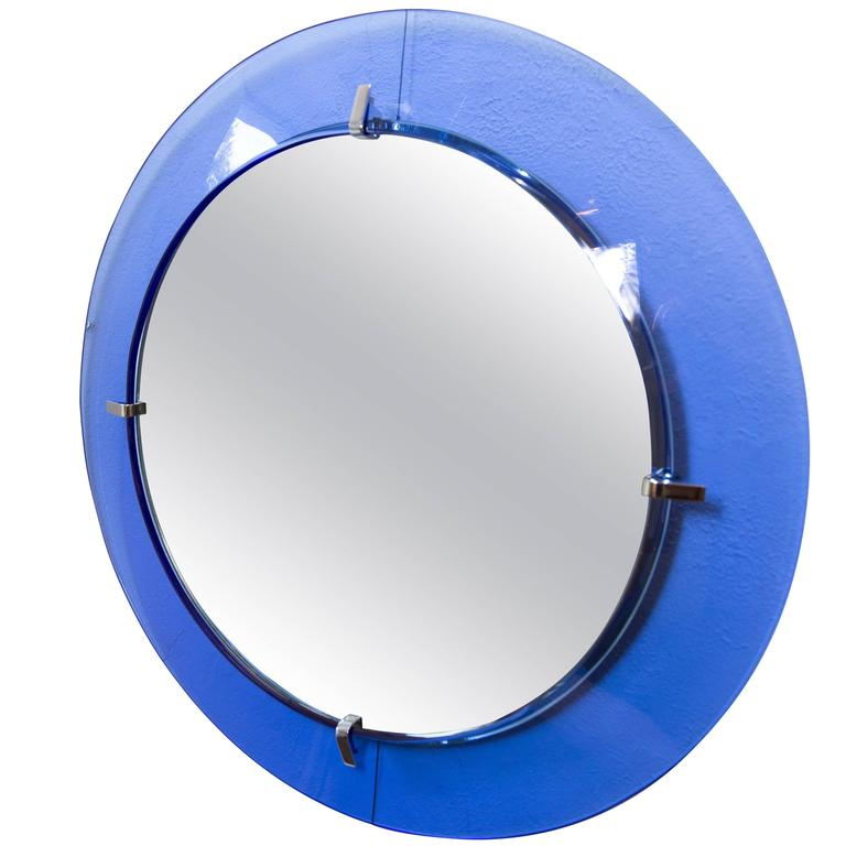 Circular Mirror with Floating Blue Glass Surround with Chrome Detail For Sale