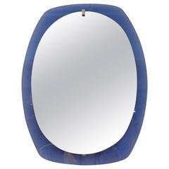 1950s Italian Blue Glass Wall Mirror by Veca