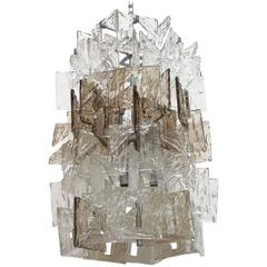 Murano Smoky and Clear Square C-Link Glass Chandelier by Mazzega