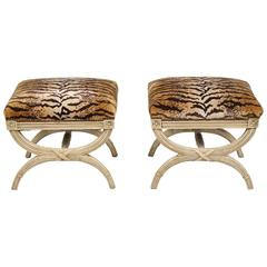 Pair of Curule Stools Upholstered in LeTigre Velvet