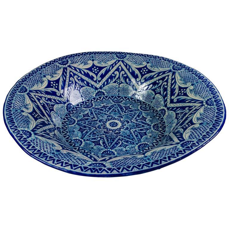 Blue and White Mexican Talavera Lebrillo with Baroque Design