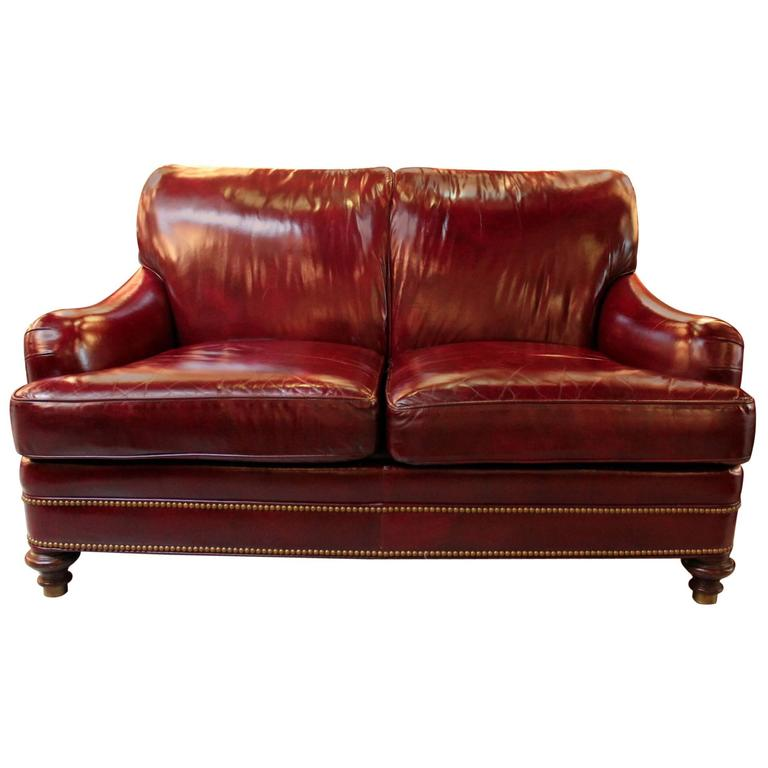 Cordivan Leather Loveseat With Antiqued Brass Nailhead Trim At 1stdibs