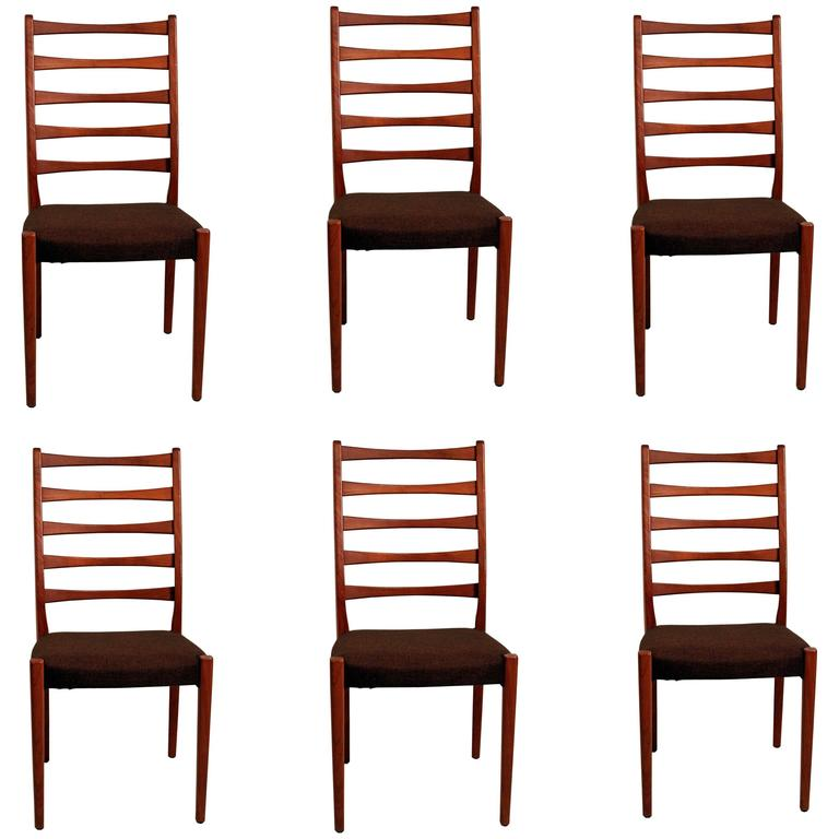 Scandinavian Dining Room Chairs: Set Of Six Scandinavian Modern Teak Ladderback Dining