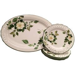 Italian Hand-Painted Brunelli Pierced Platter and Plates S/5