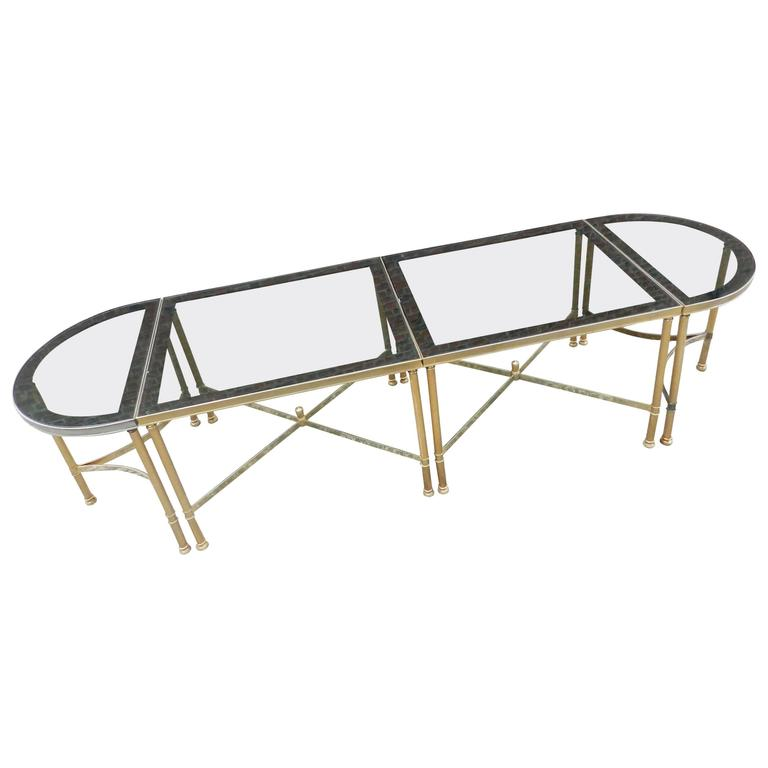 Maison Baguès, 1950 Adjustable Coffee Table in Brass, Tinted Glass and Mirror For Sale