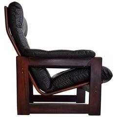 Coja High Back Leather and Mahogany Lounge Chair