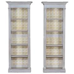 Pair of Vintage Neoclassical French Louis XVI Painted Display Cabinets