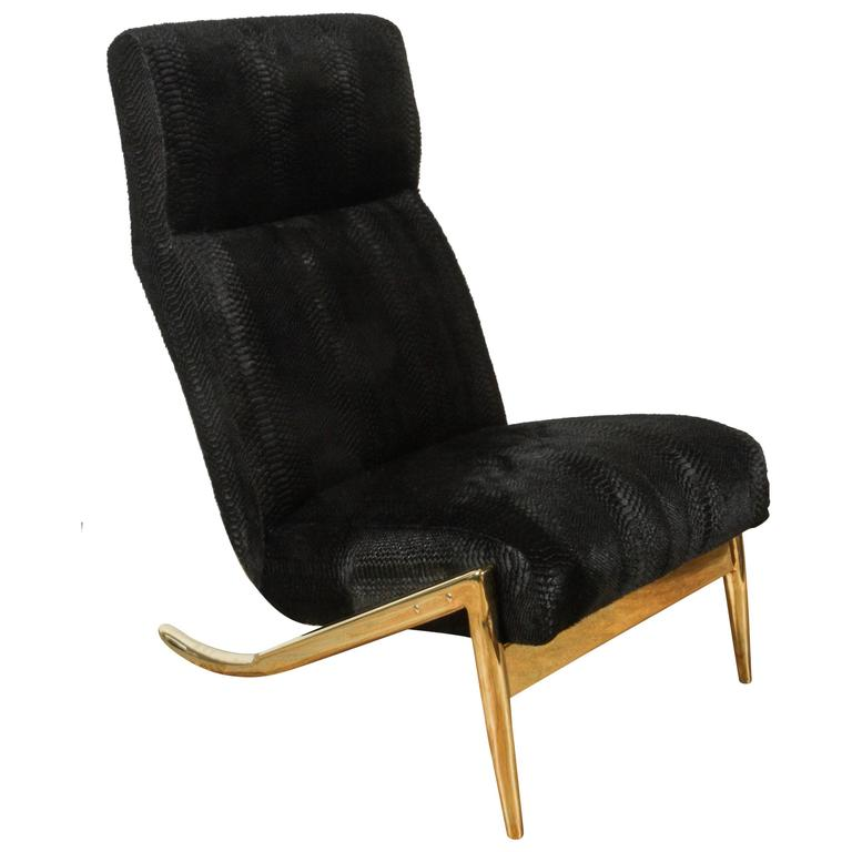 Paul Marra Slipper Chair in Brass with Laser Cut Cowhide Python