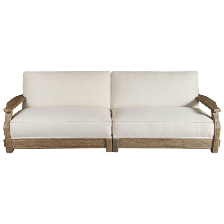 Mid-Century Distressed Oak Sofa New Finish and Upholstery For Sale