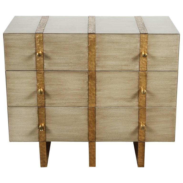 Paul Marra Three-Drawer Banded Chest in Bleached Oak and Inset Iron Band