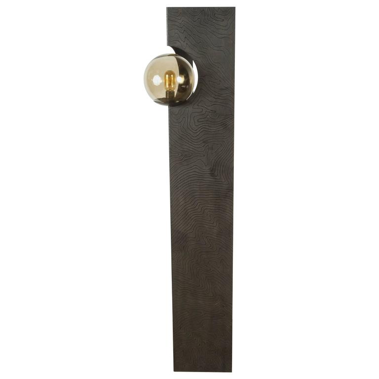 Paul Marra Textured Steel Solitaire Floor Lamp 1