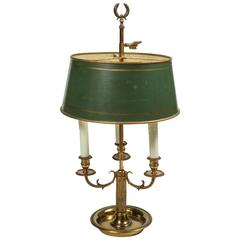Brass Three-Light Bouillotte Lamp with Adjustable Green Tole Shade, 20th Century