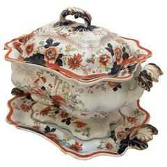 English Ironstone Tureen with Lid and Under-Tray from the Early 19th Century