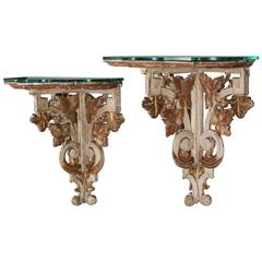 Pair of Antique French Louis XVI Painted Wall Brackets Bordeaux, circa 1880