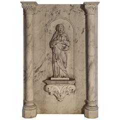 Large Antique Carrara Marble Plaque of a Saint