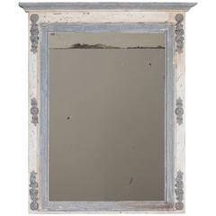 Antique French Louis XVI Painted Trumeau Mirror, circa 1880