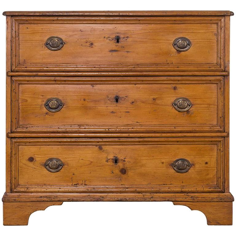 Antique English Georgian Pine Chest Of Drawers Circa 1830 For