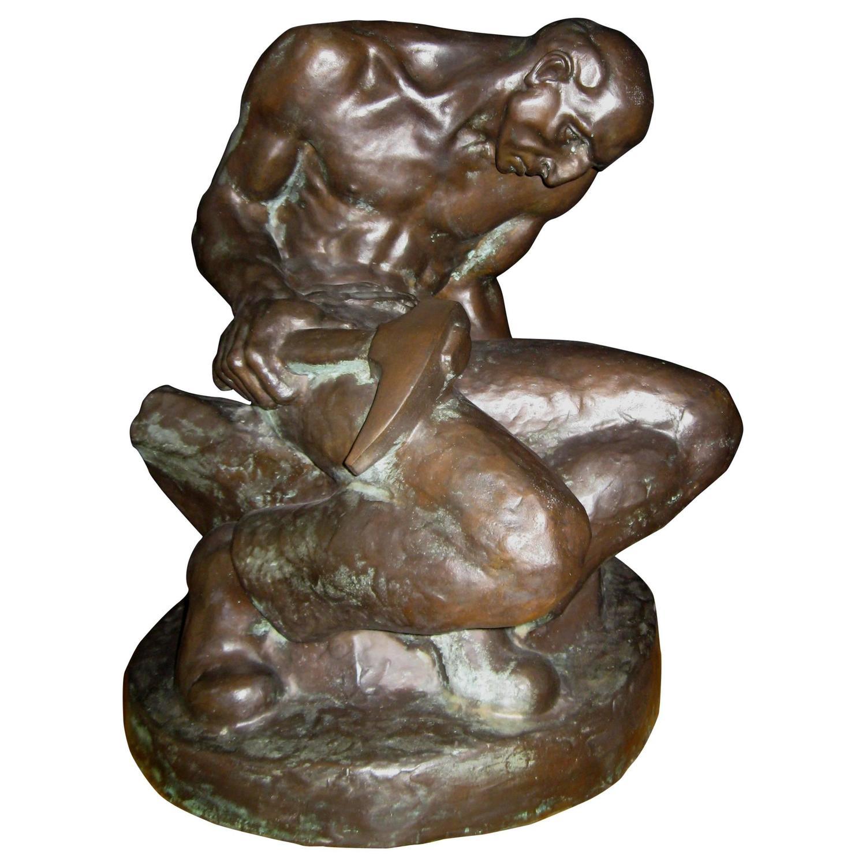 John weaver bronze sculpture stone mason for sale
