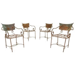 French Art Nouveau Sculptural Iron Garden Patio Chairs