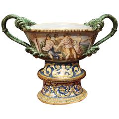 18th Century Italian Faience Urn on Pedestal