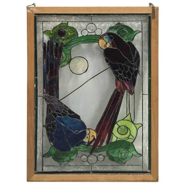 stained glass of two parrots in wood frame for sale at 1stdibs