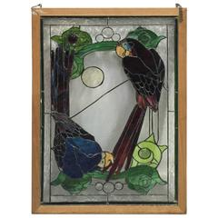 Stained Glass of Two Parrots in Wood Frame