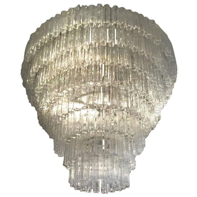 Italian Mid-Century Round Eight-Tiered Tronchi Chandelier