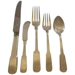Colonial Fiddle by Watson Sterling Silver Flatware Service for Eight Set 44 Pcs