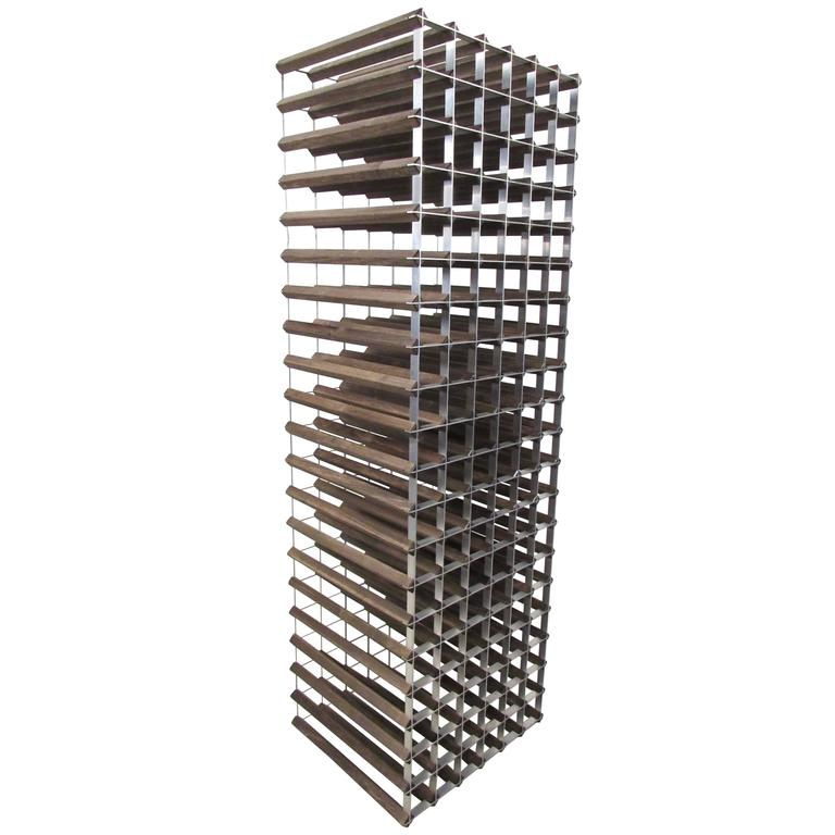 stylish midcentury modern style wood and metal wine rack 1