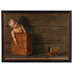 Robert Bock Oil on Board Still Life with Antique Toys