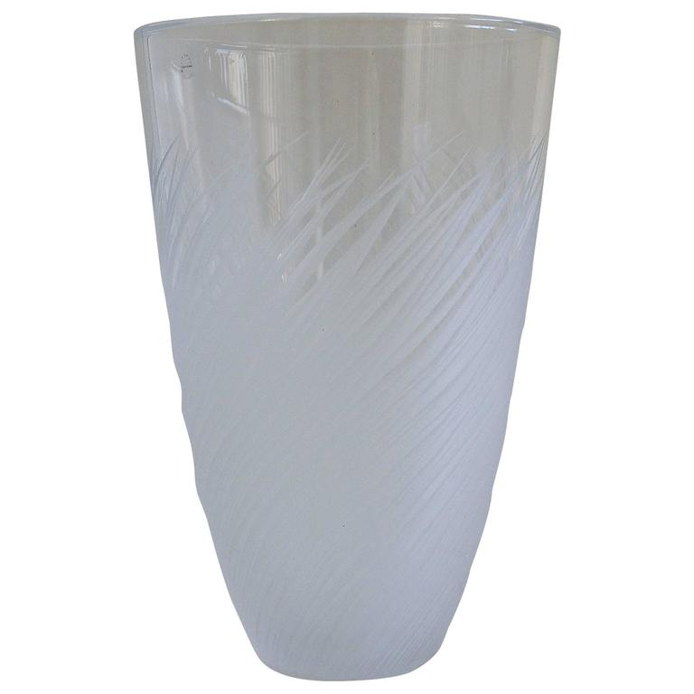 French Clear Etched Glass Vase by Salviati