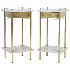 Pair of Brass and Marble Nightstands