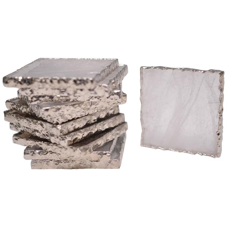 Group of Six Clear Rock Crystal Quartz Coasters