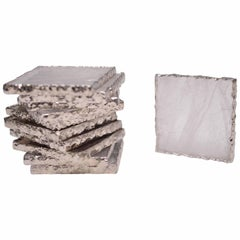 Group of 12 Clear Rock Crystal Quartz Coasters