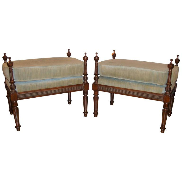 Pair of Louis XVI Style Tabouret Stools Column Form Footstools Over stuffed