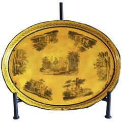 Late 19th Century Hand-Painted Yellow Tole Tray