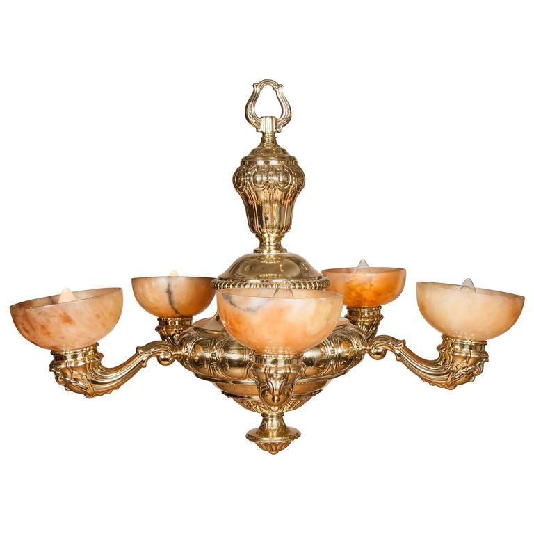 Mid-1920s Brass Five-Arm Chandelier with Alabaster Shades