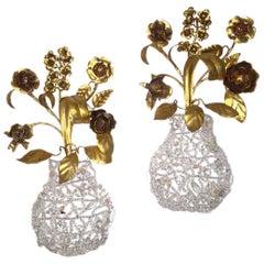 Pair of Gilt Metal Flower Sconces