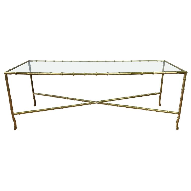 Maison Bagu S Faux Bamboo Brass And Glass Coffee Table At 1stdibs