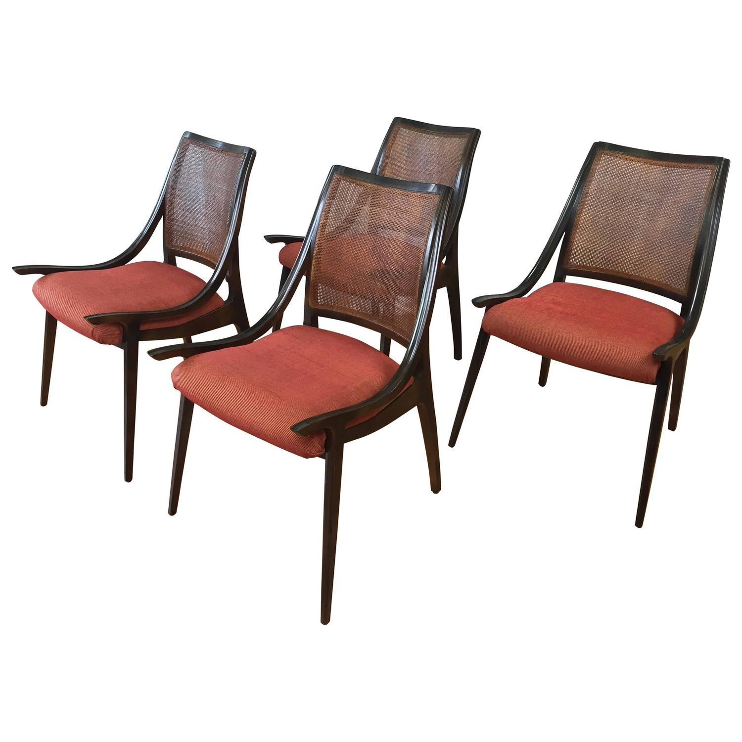 Four Cane Back Walnut Dining Chairs by Richard Thompson for Glenn