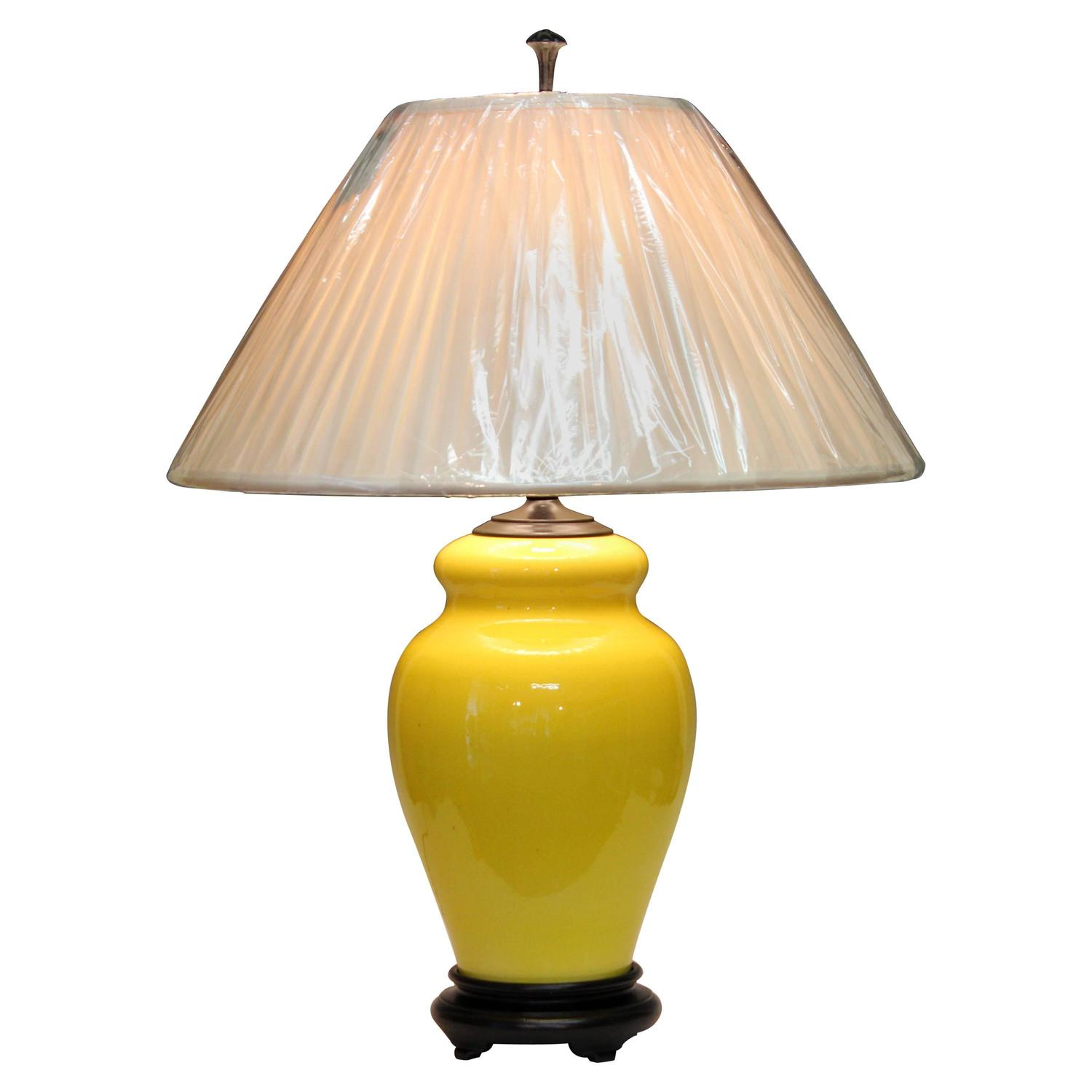 crackle yellow italian pottery raymor gourd lamp for sale at 1stdibs. Black Bedroom Furniture Sets. Home Design Ideas